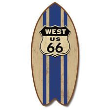 """Weathered Retro Route 66 Mini Surfboard Plaque Home Décor Accent 11"""" Sign Art"""