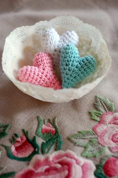 Card Alternative for Valentine's Day Gift Hearts for Valentine's Day Crocheted With by happyhandmadebyjess, $6.00