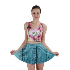 Denim Jeans Fabric Texture Mini Skirt