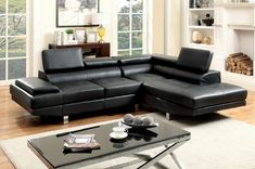 2 pc Kemina collection modern style black bonded leather match upholstered sectional sofa with adjustable headrests and tufted seats