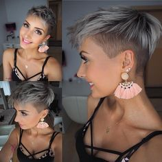 Pixie Love ♀️☺️ #hair #hairstyle #haircut #pixie #pixies #pixiecut #undercut #silverhair #greyhair #shorthair #kurzehaare #beauty #beautiful #love #amazing #pretty #ink #tattoo #tattoos #earrings #jewellery