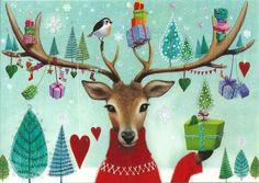 Weihnachtskarte Postkarte * Mila Marquis * Hirsch & Geschenke * Glitzer | eBay
