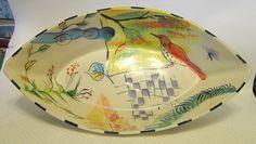 Studio Art Pottery Bowl Unique Hand Built Slab Ceramic Signed #Whimsical