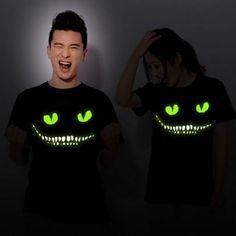 2017 de alta calidad de impresión noctilucentes negro oscuro devil cheshire cat luz de noche luminosa divertido de la novedad de los hombres de manga corta t-shirt