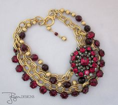 Statement Necklace  Rhinestone Necklace  Vintage by jryendesigns