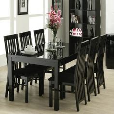 black lacquer dining table 6 chairs i like the black hutch shelves