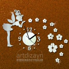Modern unique wall clock mirror fairy flower large by walldecal76, $24.00