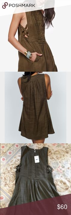 Free People Moonshine mini dress, S A great easy dress. Linen. Moss color. Side cut outs. New with tags. Free People Dresses Mini