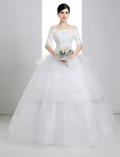 Ball Gown Off-the-shoulder Floor-length Wedding Dress (Lace/Organza/Charmeuse) – CAD $ 250.19