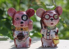 Vintage Lefton's Mice Salt And Pepper Shakers With Rhinestones Made In Japan