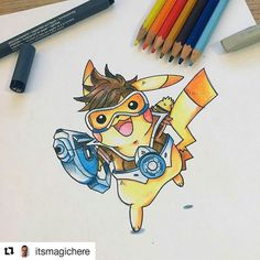 Pokemon mashup . . #pokemon #pikachu #overwatch #pokemongo #tracer#Draw #Drawing #Art #Fanart #Artist #Illustration #Design #sketch #doodle #tattoo #Arthelp #Anime #Manga #Otaku #Gamer #Nerdy #Nerd #Comic #Geek #Geeky . . Geek drawings gallery.  Use #ArtForGeeks for a chance to be featured  Artist credit
