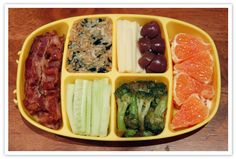 organic bacon, rice + seaweed + soy sauce + sesame oil, cucumbers, cheddar cheese, olives, broccoli, oranges