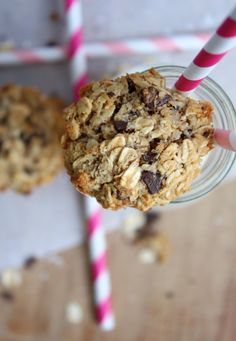Coconut Choc Chip Oat Cookies - Low GI, packed with health benefits made with coconut oil and dark chocolate chips, no added sugar. Totally Guilt free and no post cookie sugar coma to contend with