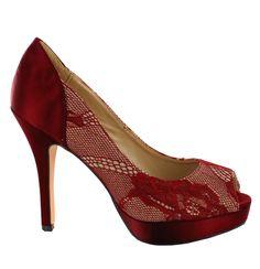 Zapato peep toe de tacón alto con plataforma, en tono Rojo oscuro. Cómodos, elegantes y modernos. Ref.6740 //High heel peep toe shoe with platform, in dark Red. Comfy, elegant and modern. Ref.6740