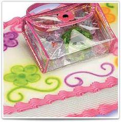 Girls Beauty:  Beauty Case contains Lip Gloss, Body Glitter, Small Hair Brush, Glitter Flower-Shaped Mirror and Keychain.  #bakery #birthday #cake #kids