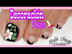 Diseño de uñas para pies en negro/ decoración de uñas para pies flor/uñas paso a paso French Nails, Nail Decorations, Manicure And Pedicure, Toe Nails, Simple Designs, Nail Art Designs, Beauty, Youtube, Videos