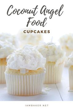 Coconut Angel Food Cupcakes — super duper easy with this boxed mix! Top it with a Cool Whip and Coconut Flakes and you've got an amazing treat for Spring break! They are so delicious, you would want to try baking some! Angel Food Cupcakes, Baking Cupcakes, Yummy Cupcakes, Cupcake Cakes, Coconut Cupcakes, Cup Cakes, Cheesecake Cupcakes, Coconut Angel Food Cake Recipe, Mini Cupcakes