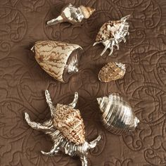 The Silver Sea Silver Plated Shells - Set of 6 by Twos Company® eclectic tabletop.  These are great accent pieces.