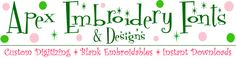 Apex Embroidery Designs, Monogram Fonts & Alphabets, some free designs available
