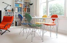 Four fabric colors by eamesbikini.com Decor, Furniture, Room, Wire Chair, Chair, Home Decor, Eames Wire Chairs, Massage Room, Fabric Color
