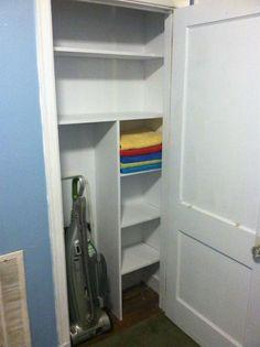 Linen Closet Diy Bathroom Shelf Dividers New Ideas Hallway Closet, Hallway Storage, Bathroom Closet, Closet Shelves, Closet Bedroom, Closet Storage, Vacuum Storage, Closet Doors, Towel Storage