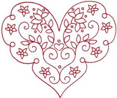 Embroidery.com: Redwork Valentine's Heart 4: Individual Designs