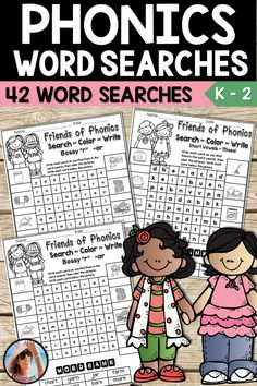 Phonics Word Searches - These easy to use, Find and Color Phonics Word Searches are no prep! They are loved by kids and teachers alike! Kids will practice finding words with Short vowels, Magic e, Bossy r, Digraphs, Vowel Teams, Diphthongs, Blends and Trigraphs. Then they must write the word under the picture and color it if they like.