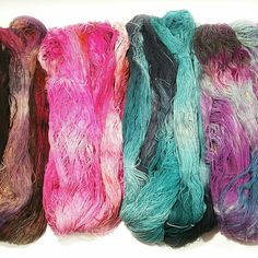 Some new shop additions. 100% Noil Silk. This fingering weight yarn is elegantly rustic. It has a subtle thick and thin texture and a matte finish that I prefer. It dyes vibrantly and at a generous 8oz, 900yd it's a bargain for such a luxurious fiber.