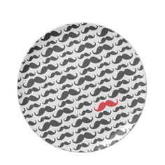 Dark gray mustache pattern with one red moustache plate by MustacheGifts