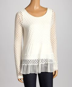 Look what I found on #zulily! White Polka Dot Scoop Neck Top by US Top Importers #zulilyfinds