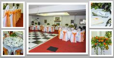 Bright orange colour schemed venue dressing. White chair covers and bright orange organza sashes. You can hire venue dressing like this at Natalija.Co Event Planning, find us on facebook, or visit our website, www.natalija.co.uk