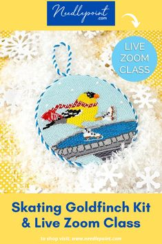Join us for a live Zoom class on Saturday May at ET. Expert instructor Jinny McAuliffe will walk you through everything you will need to know to stitch this charming Scott Church Goldfinch Ornament! Needlepoint Designs, Needlepoint Kits, Needlepoint Canvases, Back Pictures, Goldfinch, Hand Painted Canvas, Hanging Signs, Skate, Ornament