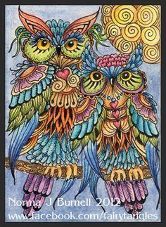 Wow, it's been a while since I've posted. So here's a few Tangled Owls ACEO's done on hot pressed watercolor paper with micron pens, ...