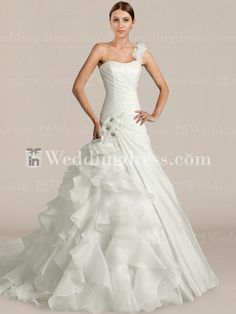 Glamorous Taffeta One-Shoulder Wedding Dress #weddingdresses