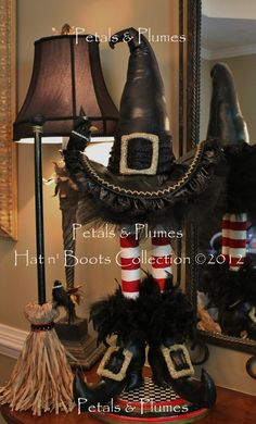 "2012 NEW VERSION ""Wicked Witch Hat n' Boots Stand w/Broom-featuring Mama & Baby Crow"" Halloween Decoration-Centerpiece-Wreath Accent. $289.00, via Etsy."
