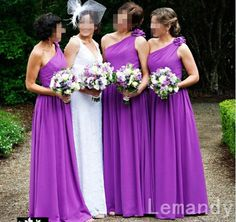 One Shoulder Length Long Chiffon Purple Bridesmaid Dresses Sell Bridesmaid Dress, Couture Bridesmaid Dresses, Elegant Bridesmaid Dresses, Designer Bridesmaid Dresses, Bridesmaids, Bridesmaid Inspiration, Wedding Inspiration, Wedding Ideas, Wedding 2015