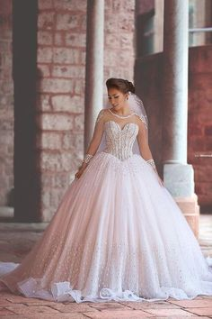 Gorgeous Ball Gown,Beaded Long Sleeve Prom Dresses,Fashion Bridal Dress,Sexy Party Dress,Custom Made Evening Dress,326