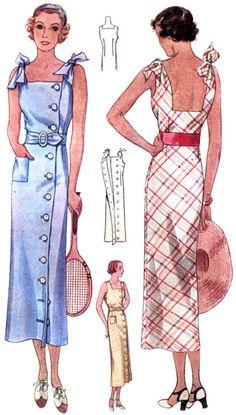 # T7746 - 1930 Sun Dress With Shoulder Ties