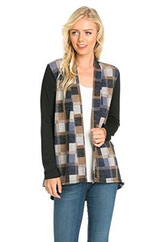 Junky Closet Women's Open Front Long Sleeve Cardigan Sweater (Large, J2241SKAB Black Navy) at Amazon Women's Clothing store: