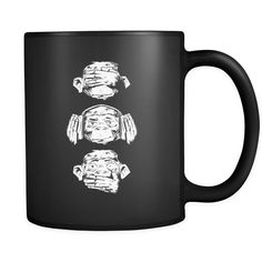 Three Wise Monkeys Design On Black 11 oz Mug