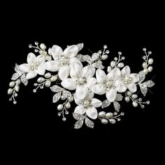 Elegance by Carbonneau Silver/Ivory Freshwater Pearl Flower Clip Hair Accessory off retail Wedding Hair Clips, Wedding Hair Flowers, Wedding Hair Pieces, Headpiece Wedding, Wedding Hair And Makeup, Wedding Hair Accessories, Bridal Headpieces, Flowers In Hair, Floral Wedding