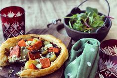 Sweet Potato & Goat's Curd Tart with Sticky Sweet Onions