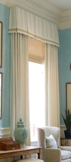 Beautiful window design home design design Box Pleat Valance, Box Pleats, Bedroom Curtains With Blinds, Burlap Curtains, Bedroom Windows, Home Design, Interior Design, Design Room, Interior Modern