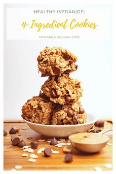 Healthy Cookies with chocolate chips made with just banana oats peanut butter for a quick and healthy snack or sweet treat. Vegan and gluten-free! Easy Vegan Cookies, Vegan Sugar Cookies, Vegan Gluten Free Desserts, Vegan Chocolate Chip Cookies, Vegan Dessert Recipes, Healthy Cookies, Vegan Sweets, Delicious Vegan Recipes, Vegan Snacks