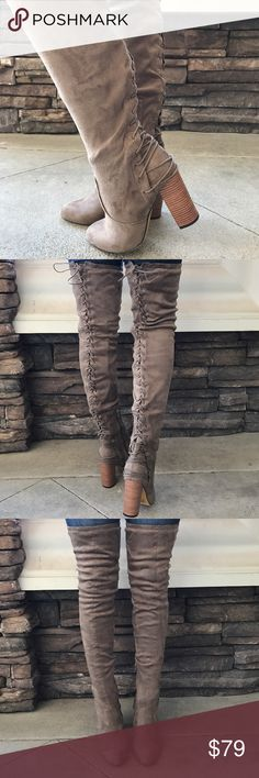 ALMOST GONE Tie Lace Up Suede Thigh High Taupe 🔸JUST ARRIVED!🔸Upgrade your simple boots for a subtle and flirty new look!🔸Brand New in Box 🔸All vegan materials 🔸3.25 inch heel 🔸Boot is 23 inches tall/26.25 inches tall including the heel 🔸 🔴Limited Quantities and cannot be restocked!  🔴 Feel free to ask questions!🎀www.thefairyden.com🎀 Shoes Over the Knee Boots