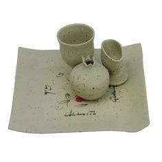 White Ceramic Havdalah Set with Hebrew Blessing and Seven Species