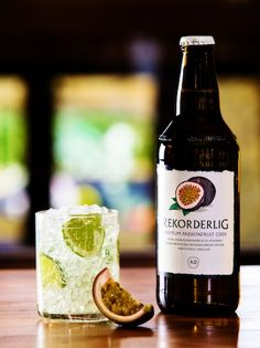 Rekorderlig Passionfruit Ciprihana: 50ml white rum, 120ml fresh lime juice, 80ml sugar syrup, 50ml passionfruit puree, 500ml Rekorderlig Passionfruit Cider, 6 wedges of lime, plus extras for garnish, Ice. Add all ingredients and lime wedges into a pitcher with cubed ice. Top with Rekorderlig Passionfruit Cider and churn. Finish with cubed ice and serve.
