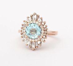 Aquamarine || rose gold || diamonds || Heidi Gibson designs MY DREAM RING ♥️