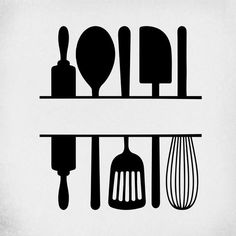 Split Kitchen Utensils SVG / Cut Files for Cricut & Silhouette Kitchen Logo, Kitchen Art, Kitchen Tools, Kitchen Gadgets, Baking Logo Design, Fond Design, Bakery Logo, Utensil Set, Deco Table