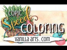 "Speed Color- Prismacolor & Copic ""Spring Basket"" by VanillaArts.com - YouTube"